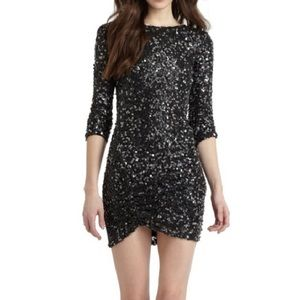 RED Saks Fifth Avenue Sequin Black Party Dress
